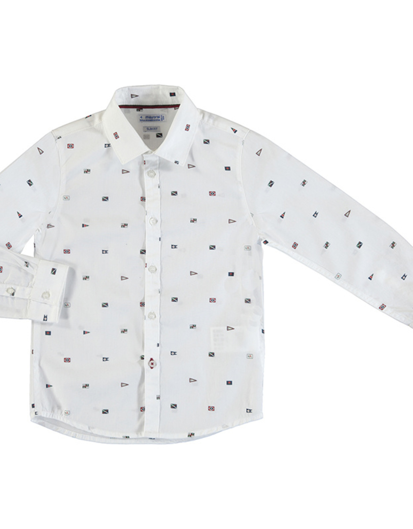 Mayoral Young Boys White Flag Print Collared Shirt