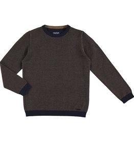 Mayoral Boys Navy Brown Herringbone Crew Sweater