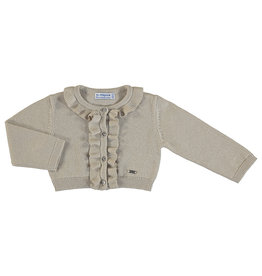 Mayoral Girls Infant Gold Metallic Cardigan with Ruffles