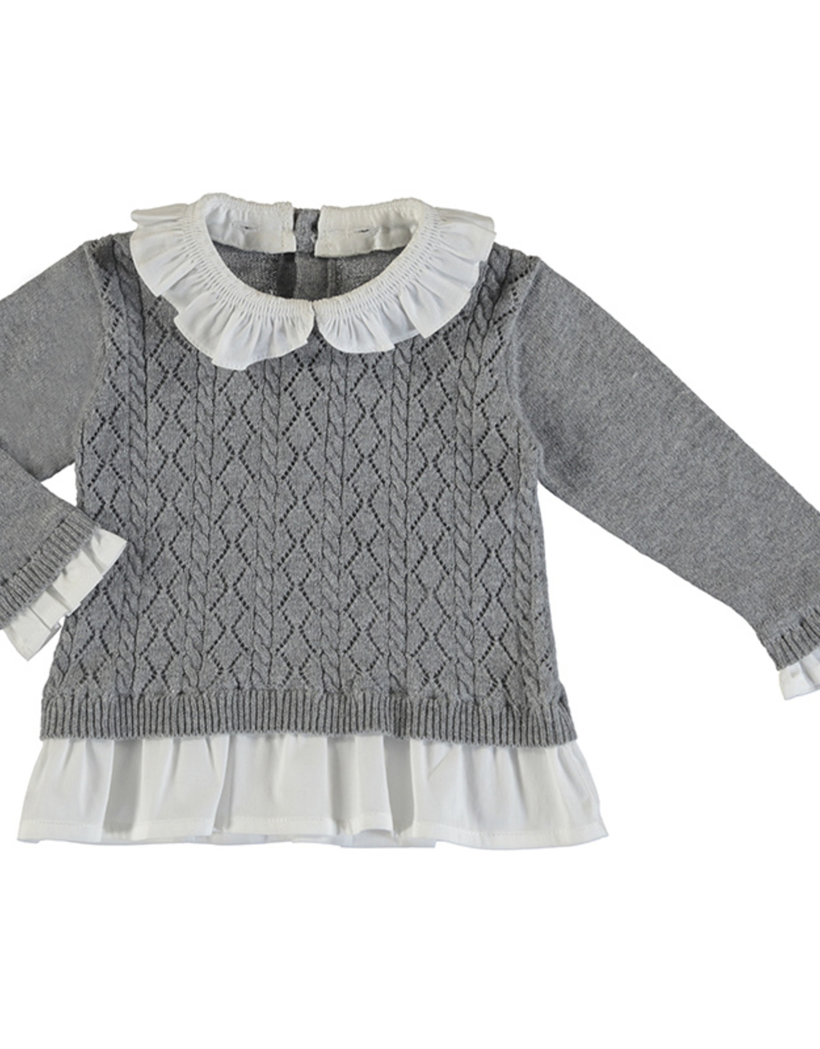 Mayoral Infant Girls Grey Pointelle Sweater With Faux Shirt