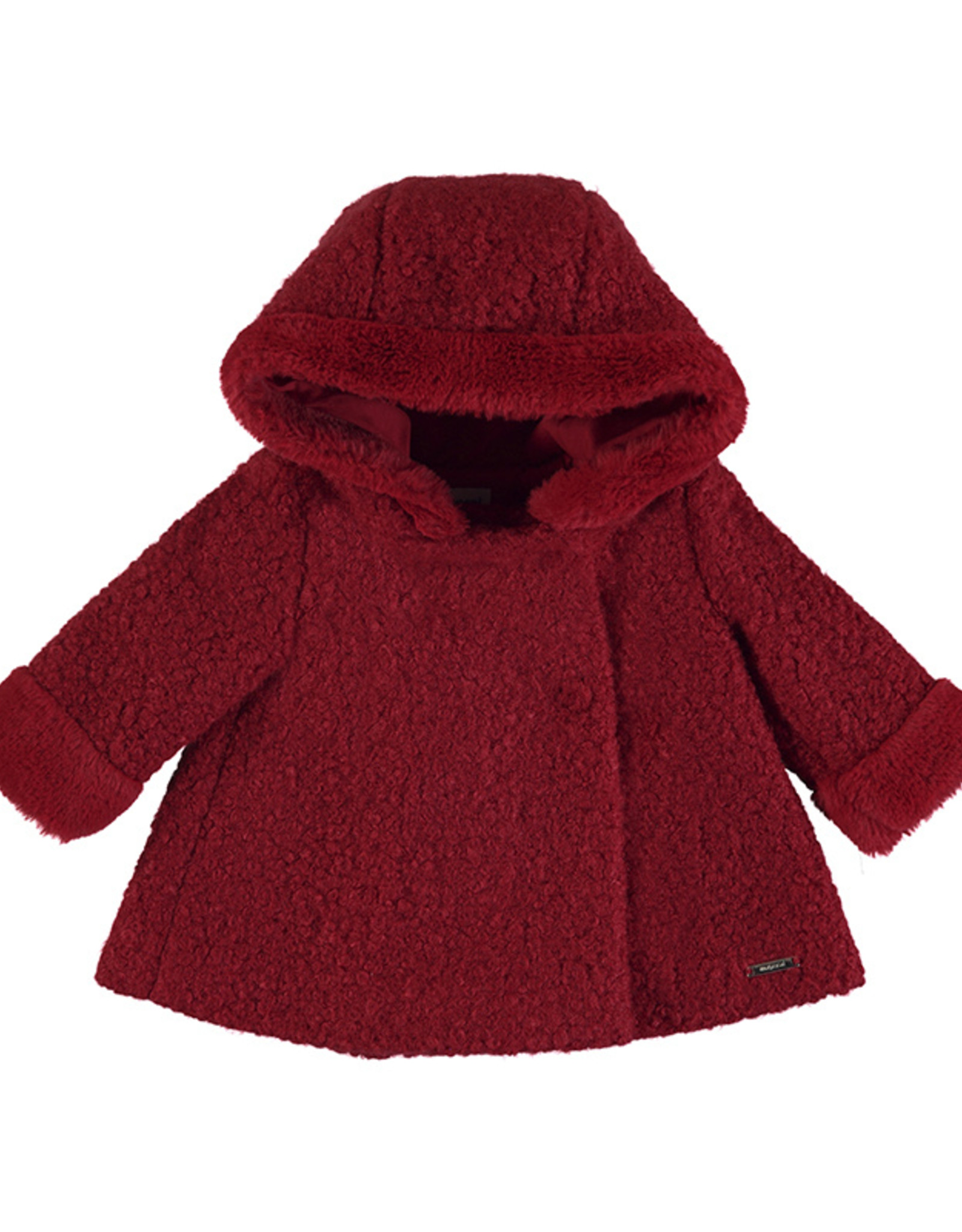 Mayoral Infant Girls Red Boucle Hooded Coat With Fur Cuffs