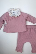 Petit Bateau Infant Girls Pink Quilted Wrap Cardigan & Pant