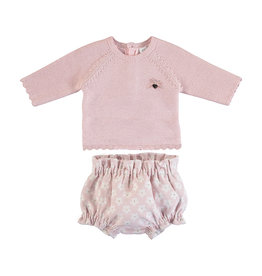 Mayoral Infant Pink Daisy Bloomer and Sweater