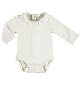 Mayoral Infant Girls White Onesie with Scallop collar