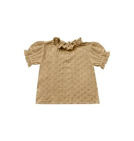 Rylee + Cru Girls Gold Eyelet Peasant Blouse