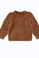 Rylee + Cru Girls Cinnamon Pointelle  Balloon Sleeve Sweater
