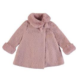 Mayoral Girls Blush Boucle Coat Fur Collar