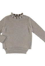 Mayoral Young Taupe Rib Sweater Ruffle Mock