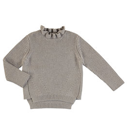 Mayoral Young Girls Taupe Rib Sweater Ruffle Mock