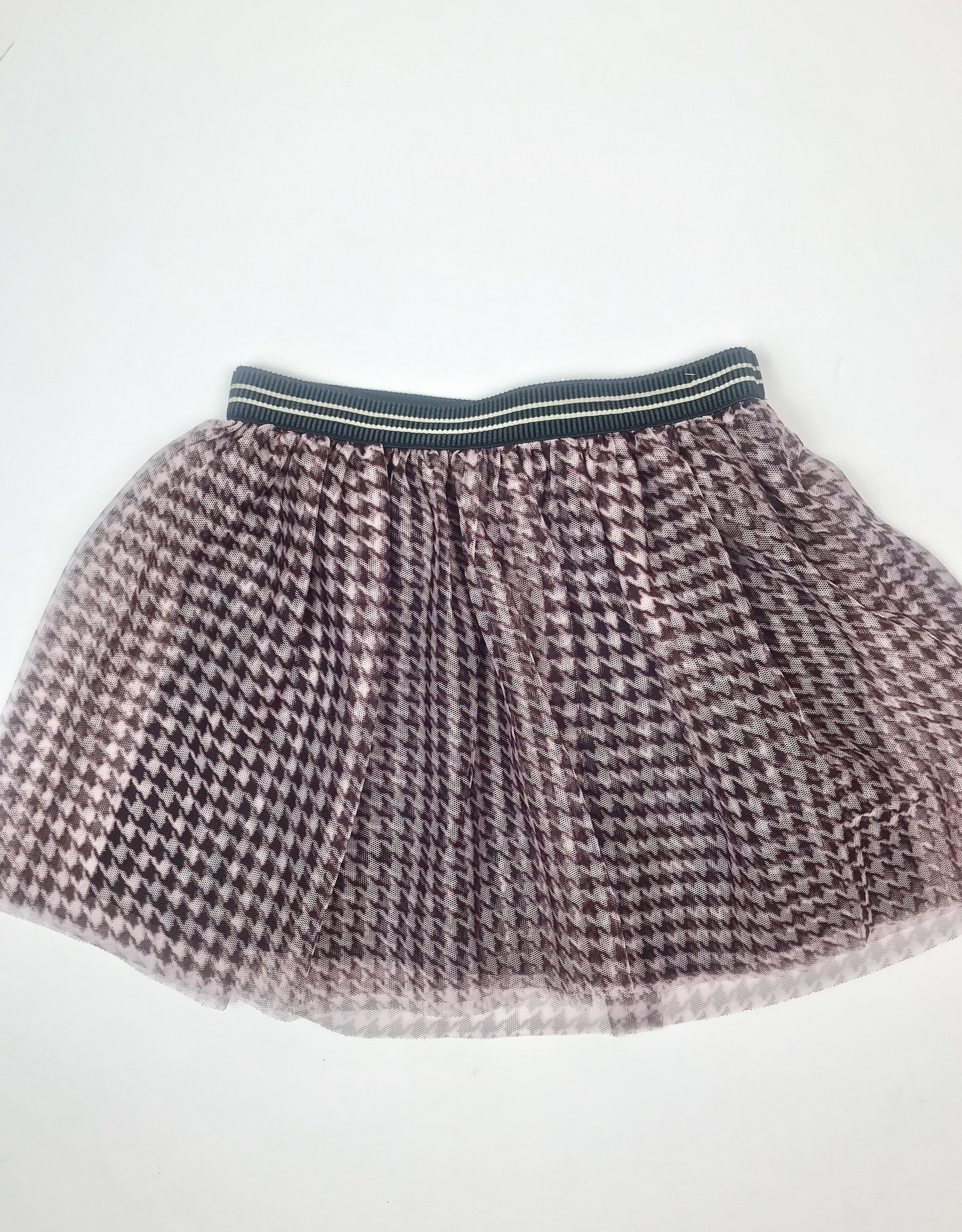 Like Flo Girls Burgundy Houndstooth Mesh Skirt