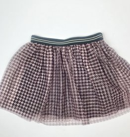 Like Flo Girls Burgundy Houndstooth Mesh Skirt