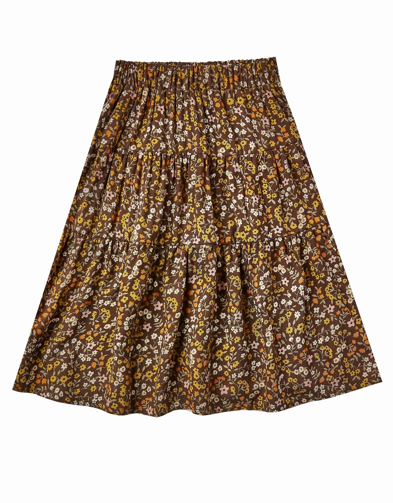 Rylee + Cru Girls Burgundy Gold  Floral Tiered Skirt