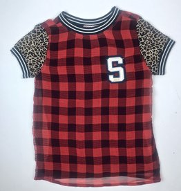 Madison Girls Funky Red Check Chiffon Top