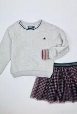 Like Flo Girls Oatmeal Sweatshirt Metallic Cuffs
