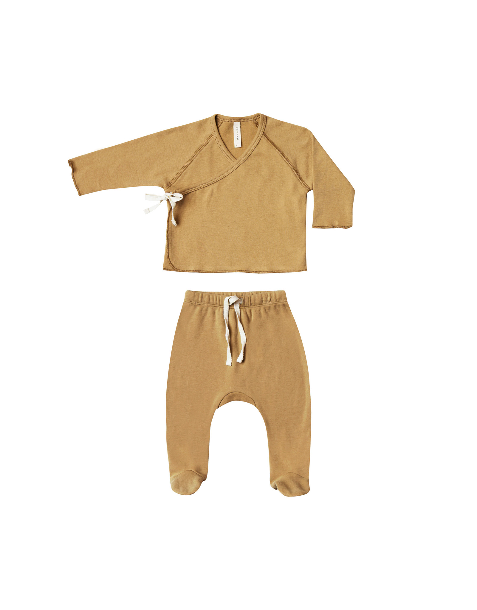 Quincy Mae Infant Organic Kimono Top footed Pant Set