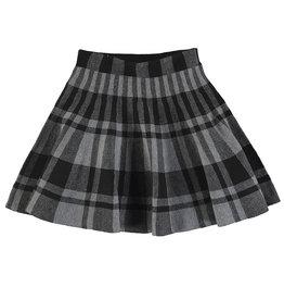 Mayoral Big Girls Grey Knit Plaid Skirt