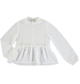 Mayoral Big Girls White Smocking Blouse