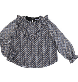 Mayoral Big Girls Blouse Grey Cat Print Ruffle Yoke
