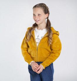 Mayoral Girls Mustard Fuzzy Zip Cardigan