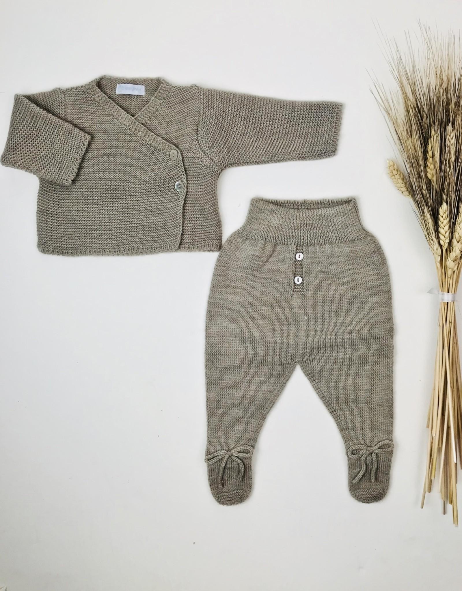Laranjinha Infant Taupe Knit Wrap Footie Set