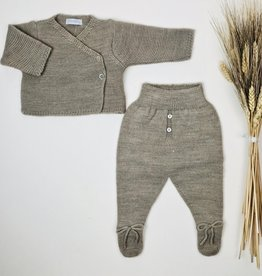 Laranjinha Infant Taupe Knit Wrap Footie Set