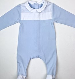 Laranjinha Infant Boys Blue Footie White Woven Yoke and Collar
