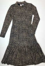 Madison Big Girls Brown Leopard Mesh Maxi Dress