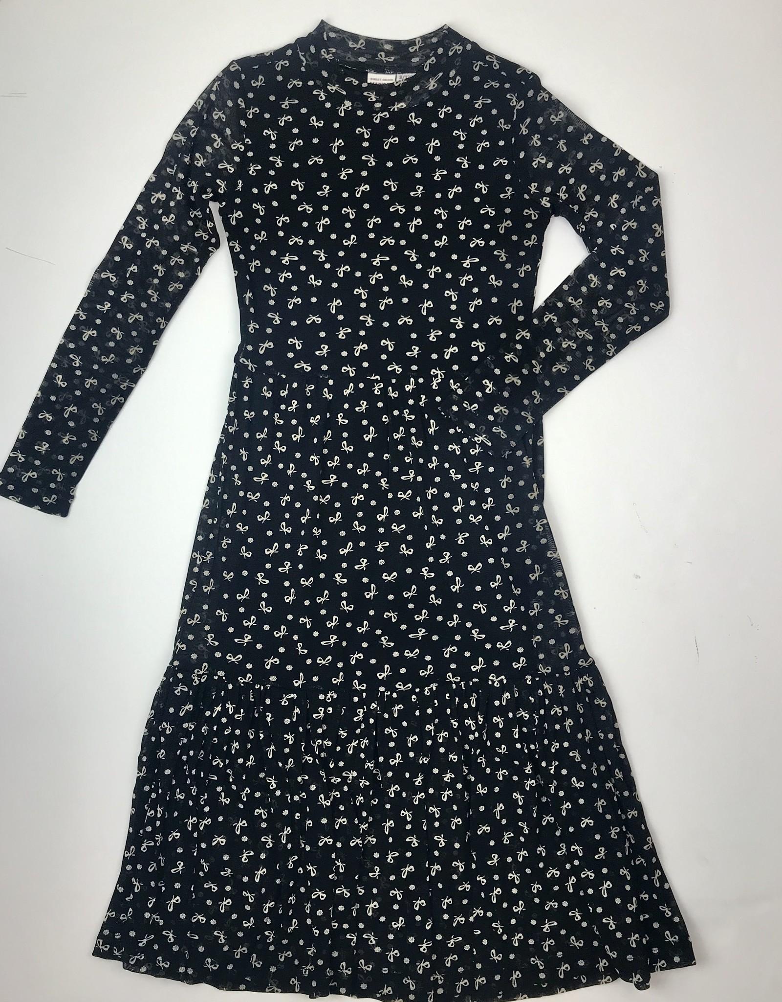 Madison Big Girls Black Bow Print Mesh Maxi Dress 5