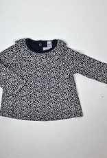 Petit Bateau Infant Girls Navy Floral Print Top ruffle Collar