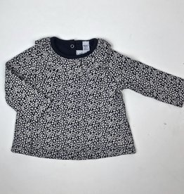 Petit Bateau Infant Girls Navy Floral Print Top