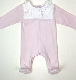 Laranjinha Infant Pink Footie  White Ruffle Collar and Yoke