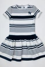 Le Chic Navy Stripe Knit Dress Drop Waist