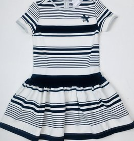 Le Chic Navy Stripe Knit Dress Drop Waist