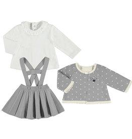 Mayoral Infant Girls 3pc Grey Knit Suspender Skirt Set