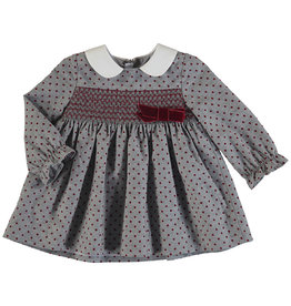 Mayoral Grey Dress with Burgundy Dot Smocked