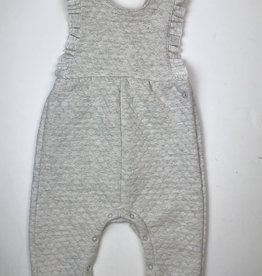 Petit Bateau Infant Girl Oatmeal Quilted Ruffle Overall