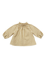 Rylee + Cru Goldenrod Gingham Audrey Blouse  High Neck