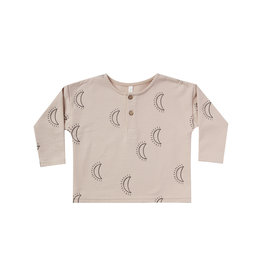 Rylee + Cru Infant Fleece Oat Moons Print Henley