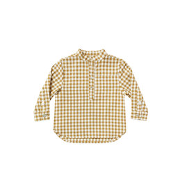 Rylee + Cru Boys Mason Goldenrod Gingham Band Collar Shirt