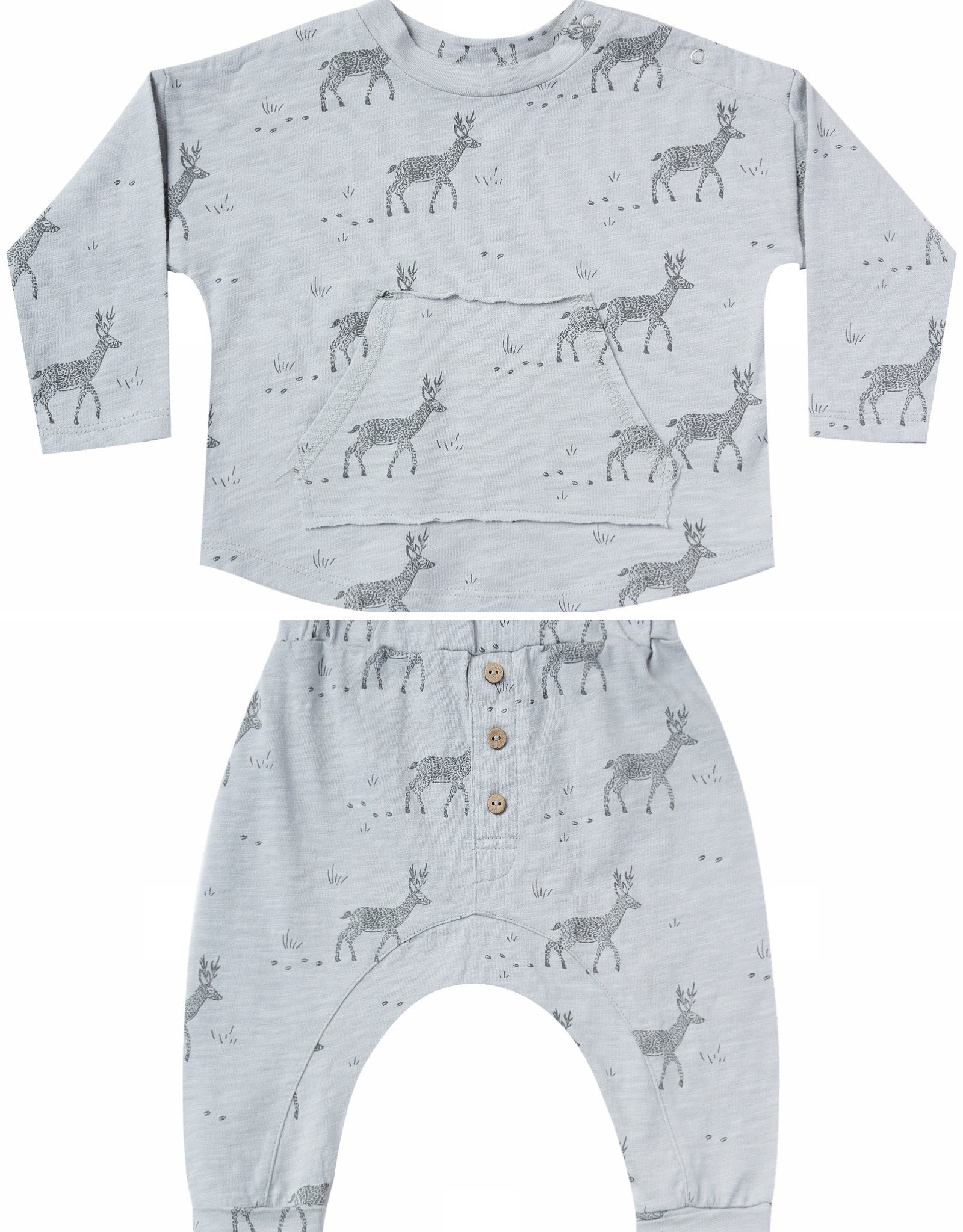 Rylee + Cru 2 Piece Knit Grey Buck Print with Pouch