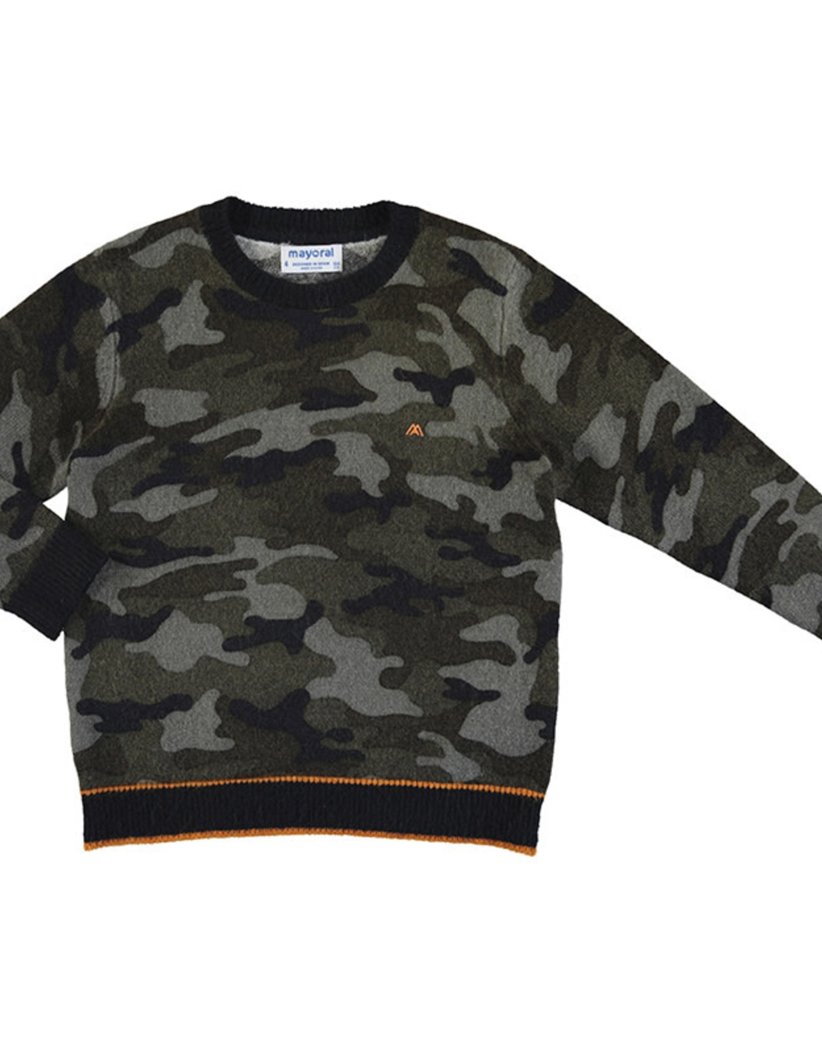 Mayoral Boys Camouflage Sweater with Orange Trim