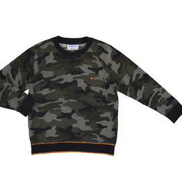 Mayoral Boys Camouflage Sweater with Orange Trim