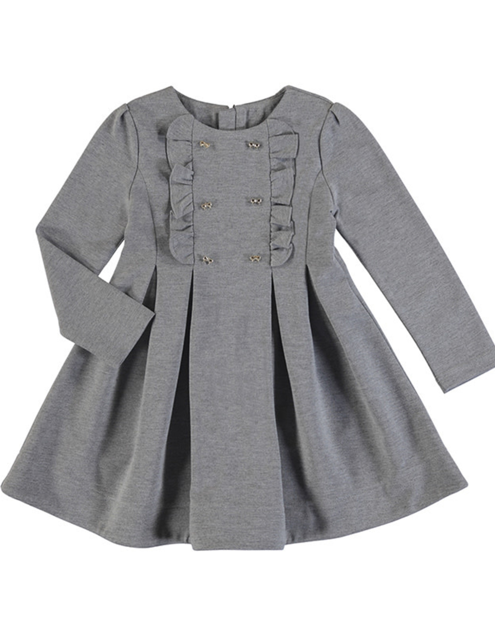 Mayoral Grey Knit Dress with Gold Double Buttons and Ruffle