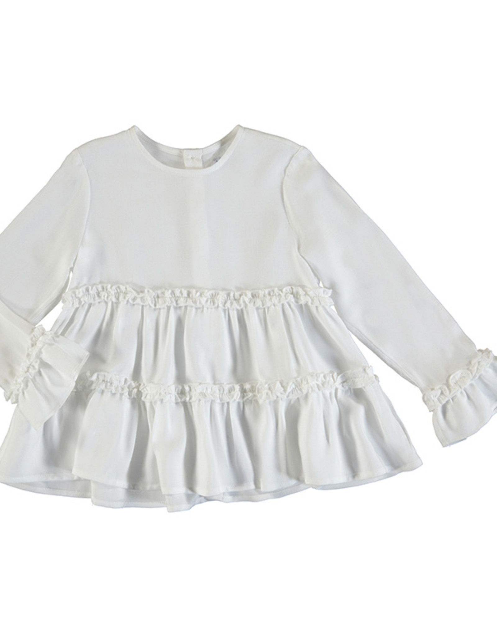 Mayoral Girls White Ruffle Babydoll Blouse