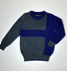 Leo and Zachary Boys Charcoal Royal Colorblock Sweater