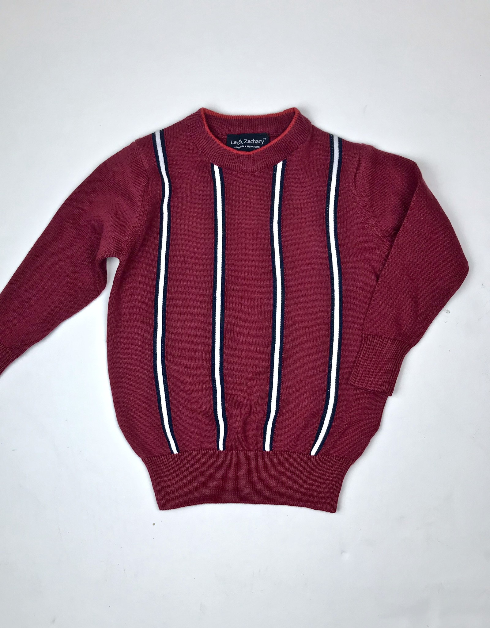 Leo and Zachary Red Vertical Stripe Crew Sweater