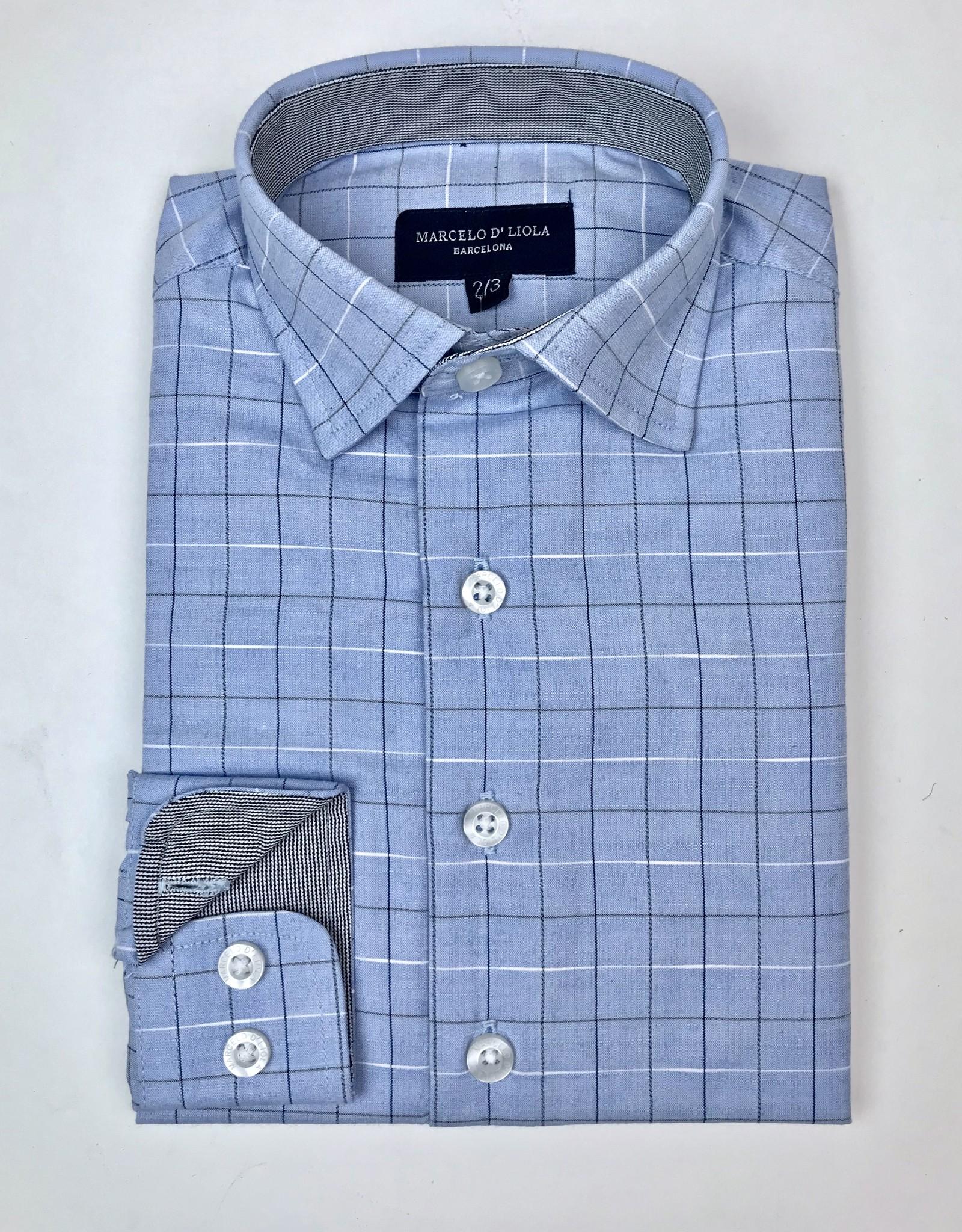 Leo and Zachary Boys LtBlue Shirt Clubstone Tattersal