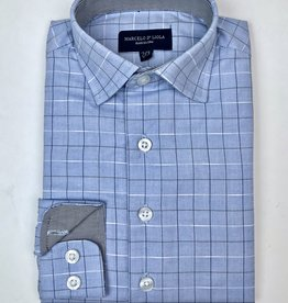 Leo and Zachary Boys LtBlue Shirt Clubstone Tattersal