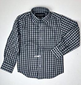 Leo and Zachary Boys Black and Grey Check Shirt