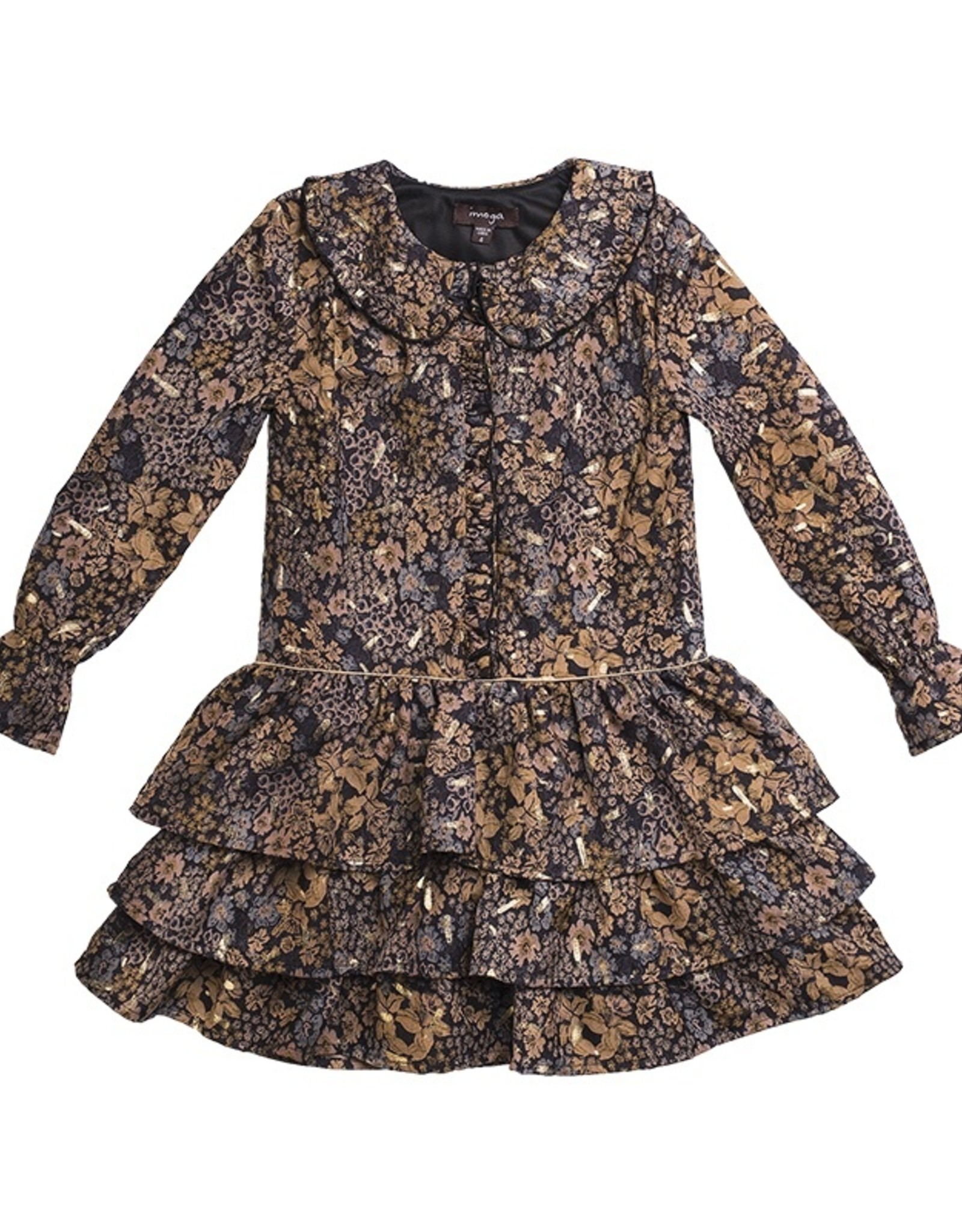 Girls Black Gold Fleur Print Dress